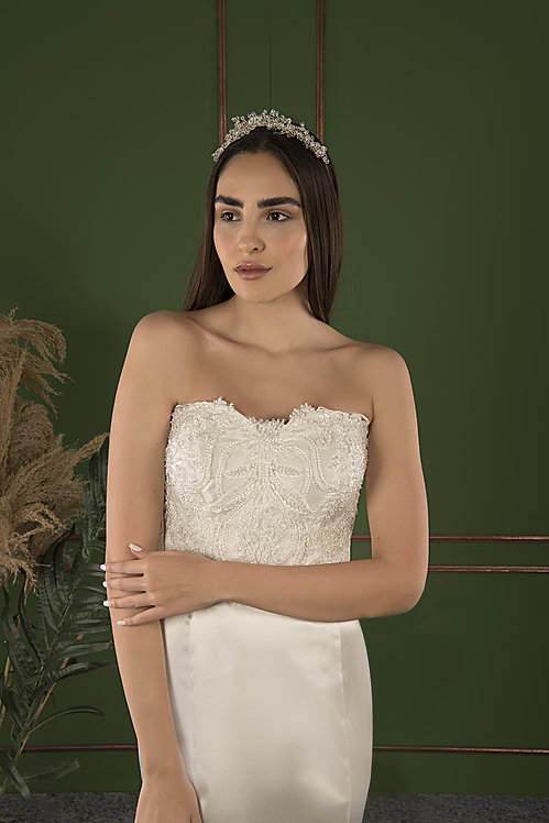 P21516 Trumpet Hand Beaded Wedding Dress