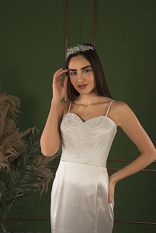 P21517 Trumpet Hand Beaded Wedding Dress