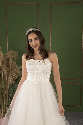 P21504 A-Line Hand Beaded Wedding Dress