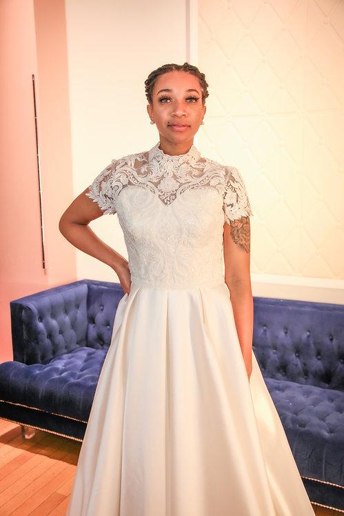 21019 A-Line Hand Beaded Wedding Dress