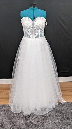 21017 A-Line Hand Beaded Plus Size Wedding Dress