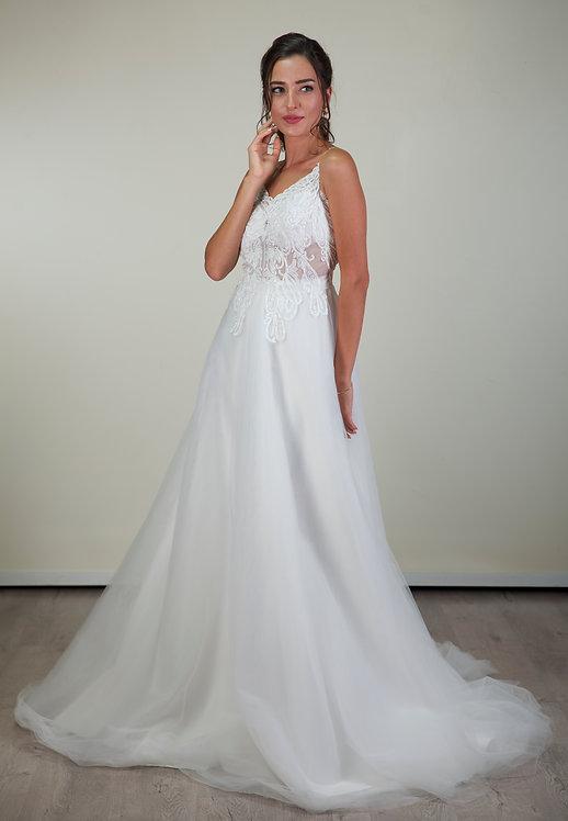 201110 A-Line Hand Beaded  Wedding Dress