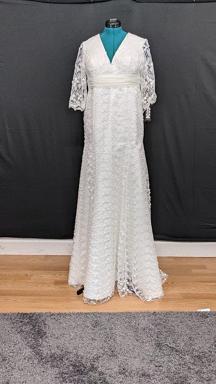 2019001 Trumpet Hand Beaded Plus Size Wedding Dress