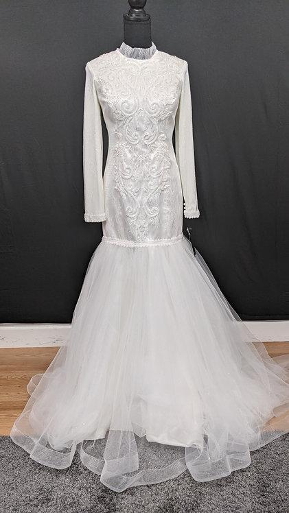 21902 Mermaid Hand Beaded Muslim Wedding Dress