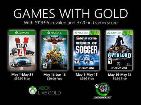 May's Games With Gold revealed