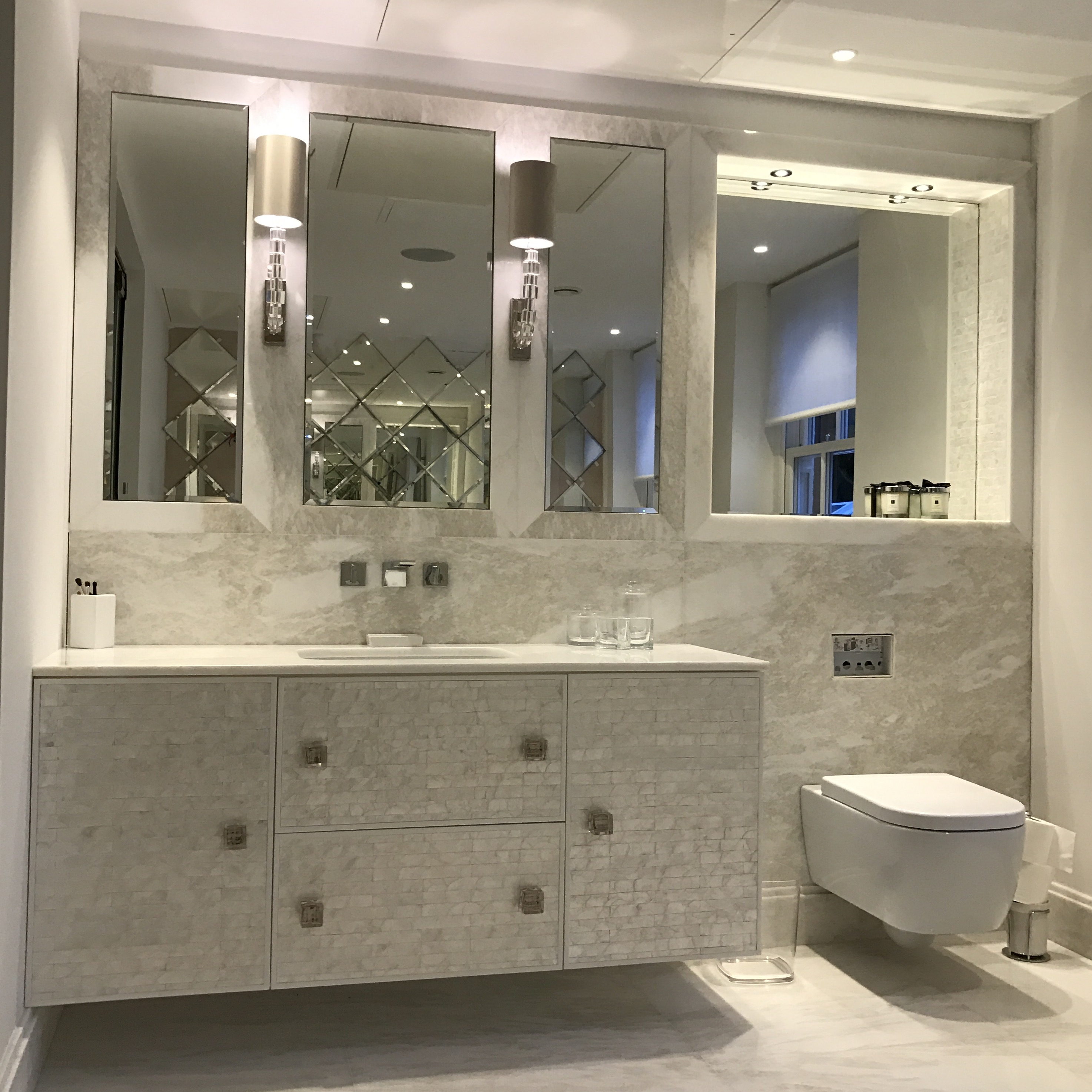 Mother of pearl bathroom unit