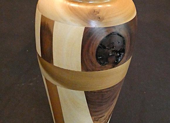 "Walnut & Poplar Vase with Large Knot: 8.25"" x 4.25"""