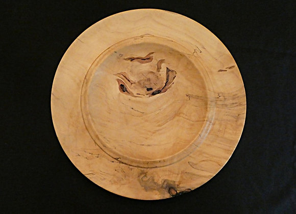 """Spalted Maple Platter with Bark Inclusions: 13.75"""" x 1"""""""