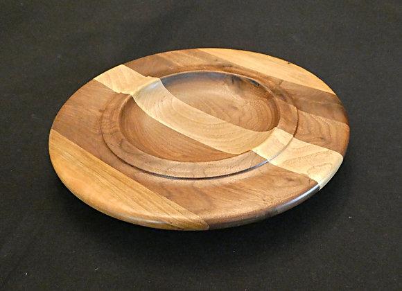 """Striped Walnut & Cherry Plate: 9.5"""" x 1.25"""""""