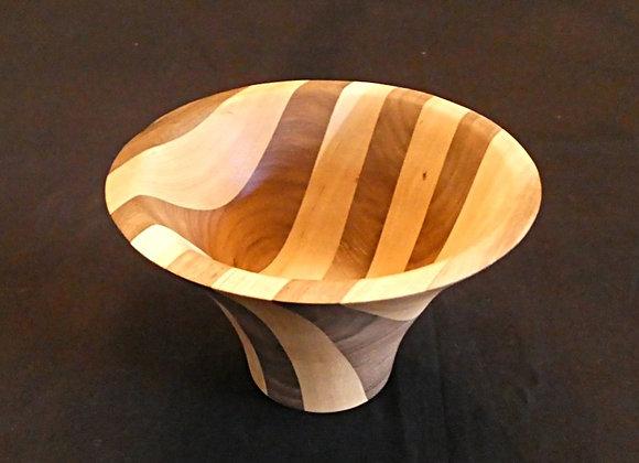 """Walnut & Cherry Vase Shaped Bowl: 6.75"""" x 4.25"""""""