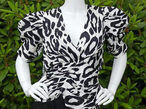 Womens Ronny Kobo Liliana Leopard Print Puff Sleeve Blouse (HFRK-9740151PLJ)