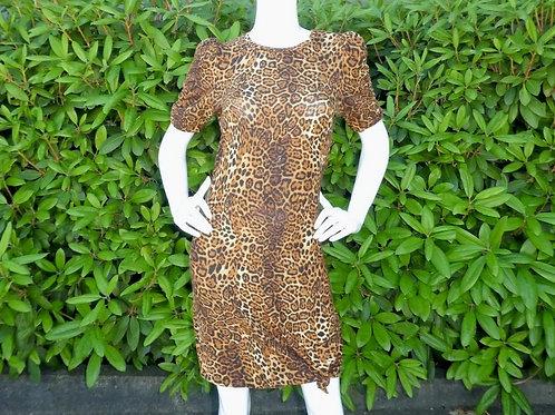 Womens Generation Love Rezi Puff Sleeve Leopard Mini Dress (HFGL-R20609)