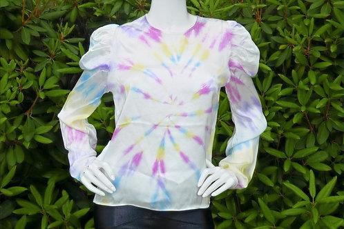 Womens Generation Love Penelope Silk Tie Dye Puff Sleeve Blouse (HFGL-SP20199)