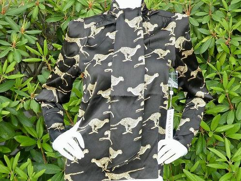Womens Ronny Kobo Rosa Scarf Tie Cheetah Blouse  (HFRK-043014CHC)