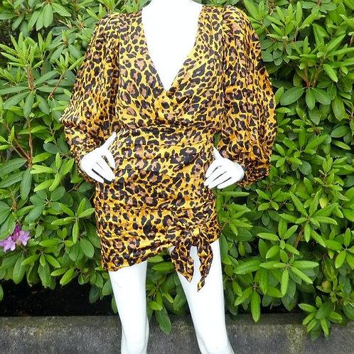 Womens Ronny Kobo Giorgia Leopard Puff Shoulder Wrap Dress (HFRK-9681408LJQ)