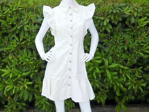 Womens Cinq a Sept.nyc Yvette Ruffle Shirt Dress (HF5A7-ZD10742574Z)
