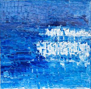 GM245, BlaueLandschaft,70x70