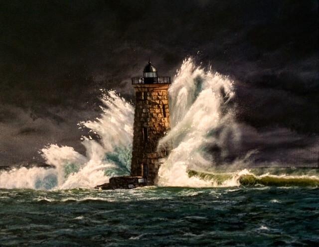"Lighthouse Crash   11""x14"" Canvas"