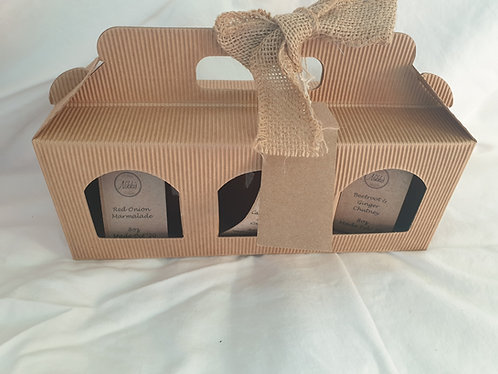 3 x 8oz Jar Cardboard Hamper Box with Ribbon & Tag