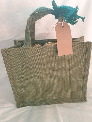 Jute Hamper bag with ribbon and tag