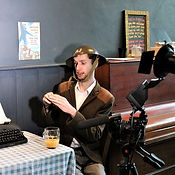 Andrew Jarvis on set for a Dad's Army parody at Norwich Playhouse Bar.