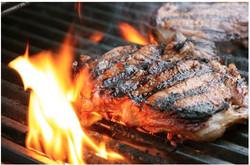1 Two steaks flames
