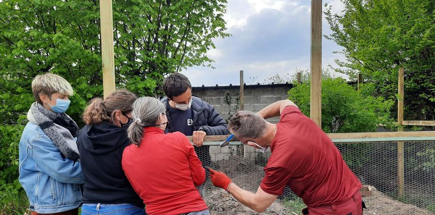 Chantier participatif : construction de la volière avec des bénévoles