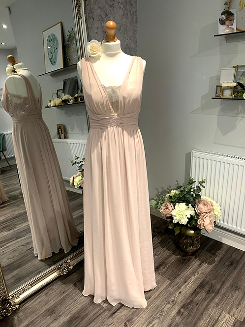 Dessy 6741 Cameo/ Gold lurex Chiffon     One only