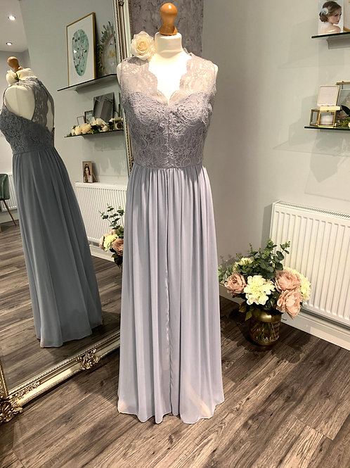 Dessy 6774 Platinum Lace & Lux Chiffon  One Only