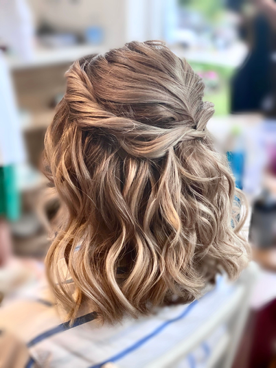 Boho bridesmaids hair half up