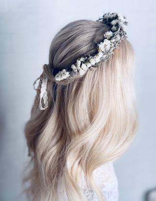 soft half up half down bride hair