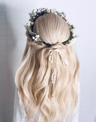 Soft half up half down bridal hair