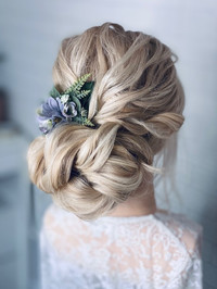 Textured curly bridal hair up
