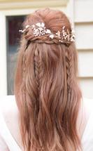 boho bridal half up hair