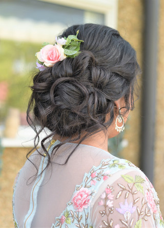 Bridal updo with volume