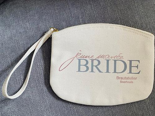 Brauttasche Kosmetiktasche beige BRIDE 20x17cm