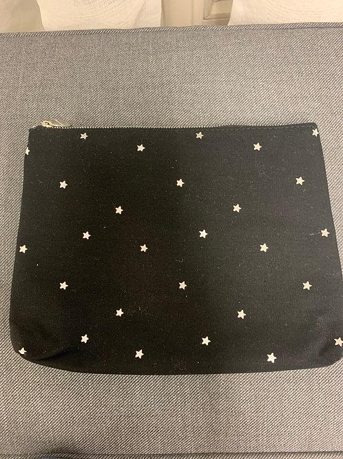 "Kosmetiktasche Jutetasche Zippertasche ""Stars"" schwarz Silber"