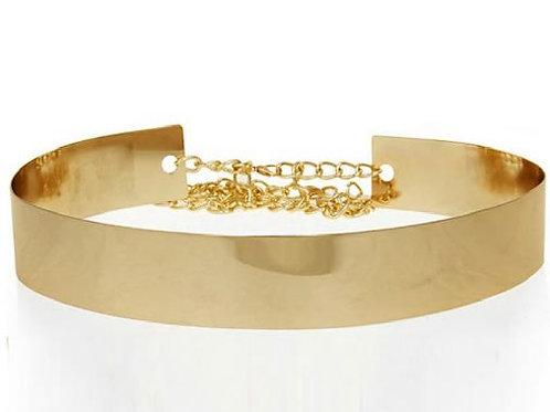 Metallgürtel 2cm breit gold mit Kette