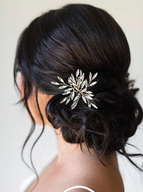 Brautschmuck Haarnadel Silber Blätter