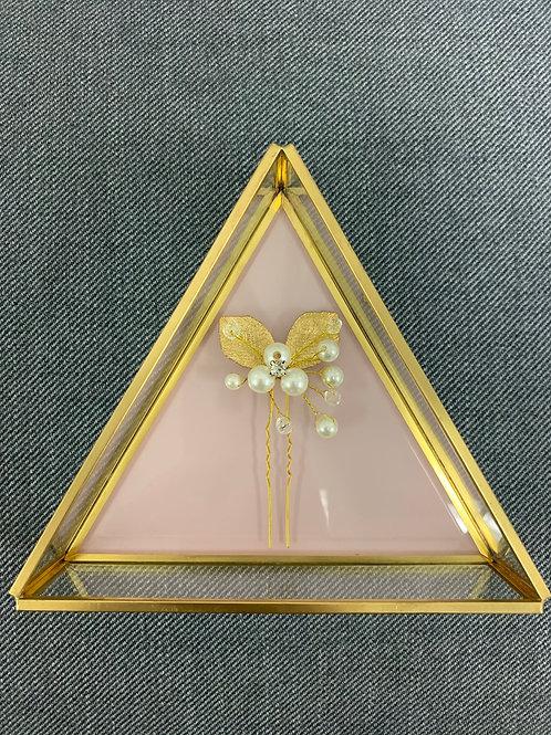 Brautschmuck Haarnadeln Kopfschmuck Perle Gold Blätter 1 Stück