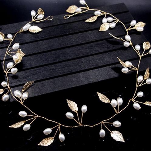 Brautschmuck Kopfschmuck goldene Blätter mit Perlen