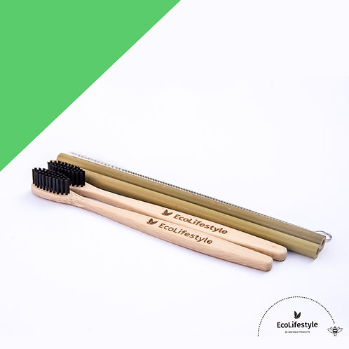 Bamboo Toothbrush & Straw Set