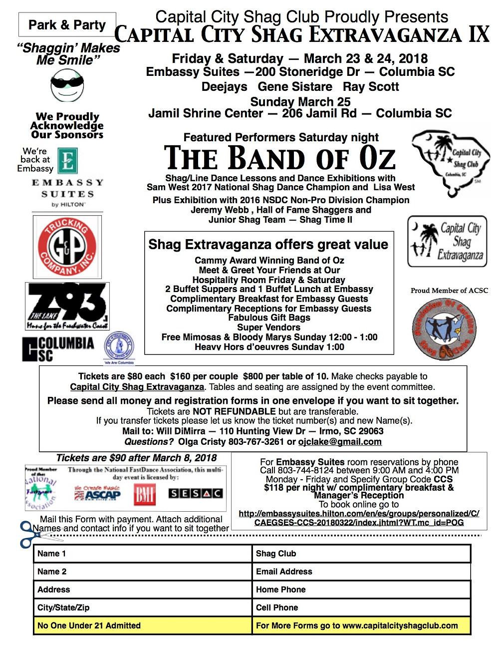 Capital City Shag Extravaganza IX event flyer