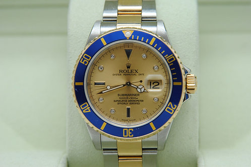Rolex Submariner Date Two Tone 16613 Serti Complete