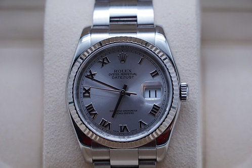 Rolex Datejust 36mm Roman Rhodium G Serial 116234