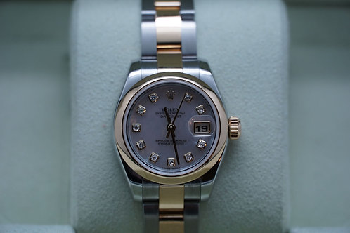 Ladies Rolex Datejust Two Tone 26mm F 179163 Mother of Pearl Diamond Dial