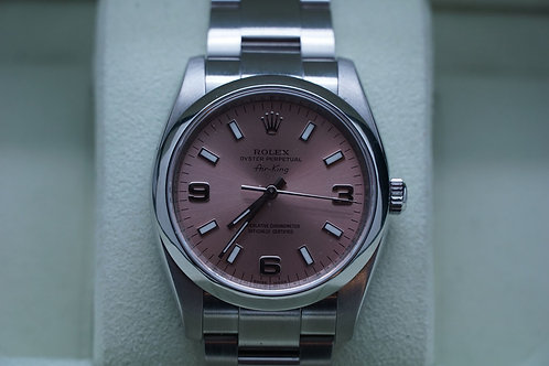 Rolex Oyster Perpetual 34mm Airking Salmon Arabic Dial 114200