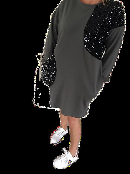 Sequin detail jumper dress