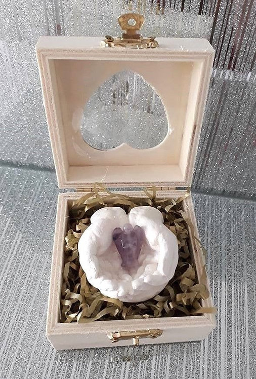 Amethyst Angel, Healing Hands, Wooden heart shape gift box