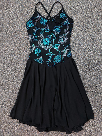 Sparkly Black Dance Skating Dress with Chiffon Skirts ($103 USD)
